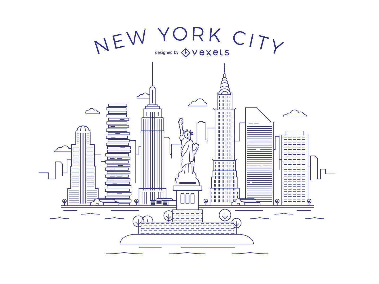 New York city thin line Skyline