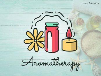 Diseño de iconos de logotipo de Aromaterapia