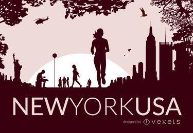 Horizonte da Nova Iorque com silhuetas