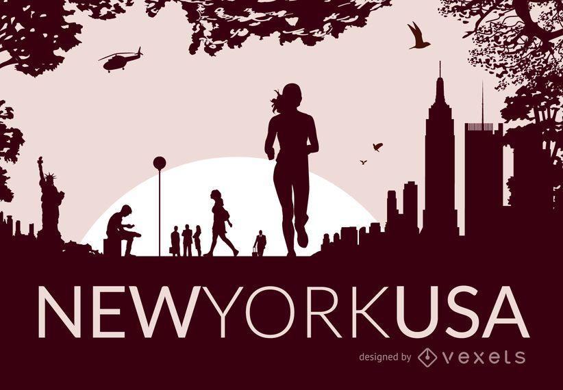 Skyline de la ciudad de Nueva York con siluetas