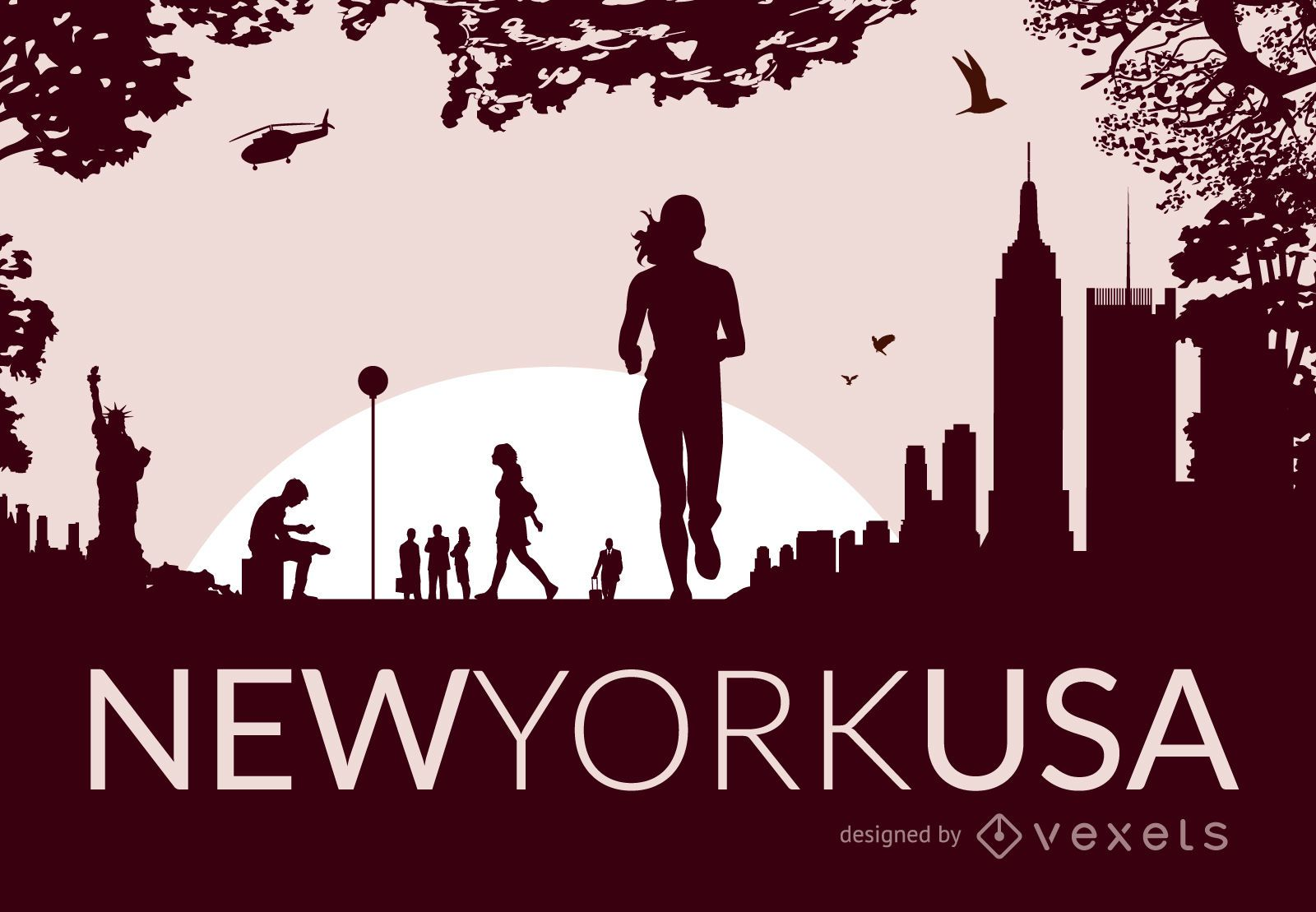 New York City skyline with silhouettes