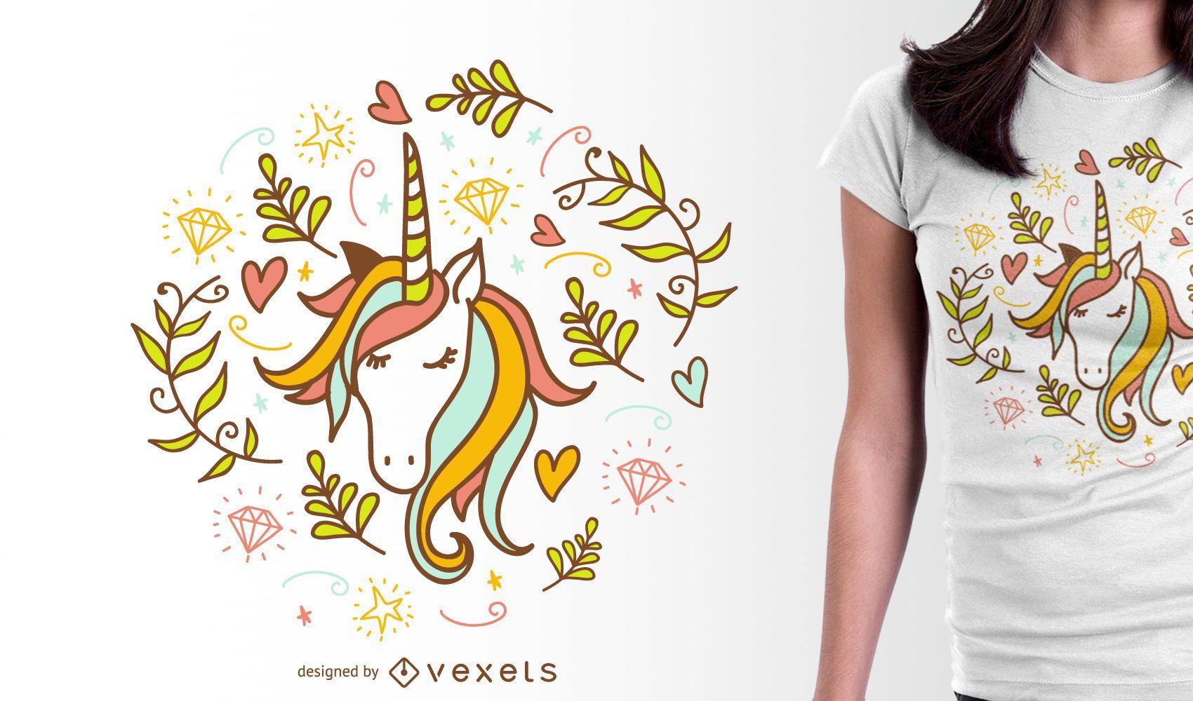 Diseño de camiseta de unicornio