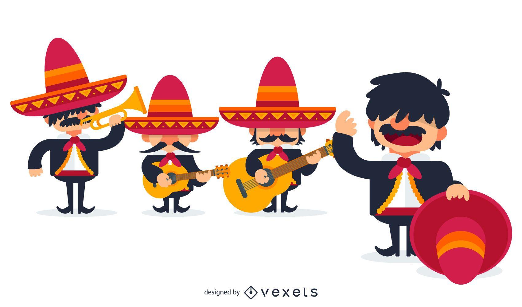 Ilustración de mariachis mexicanos