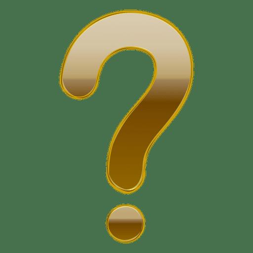Gradiente de oro 3d signo de interrogación Transparent PNG