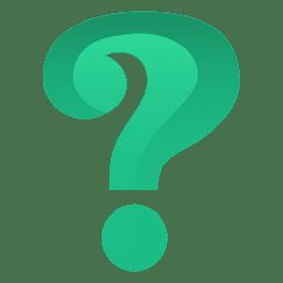 Signo de interrogación verde 3d