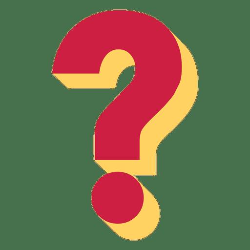 Ponto de interrogação 3d vermelho e amarelo Transparent PNG