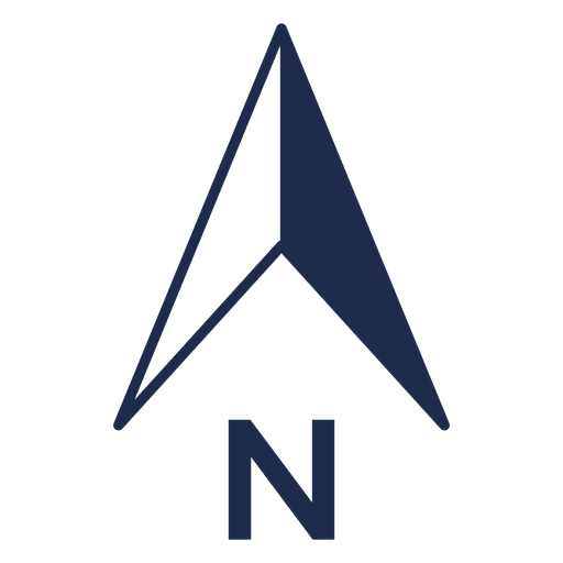 Ubicación simple de la flecha norte