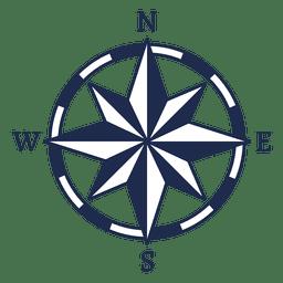 Ubicación de la flecha norte náutica vintage
