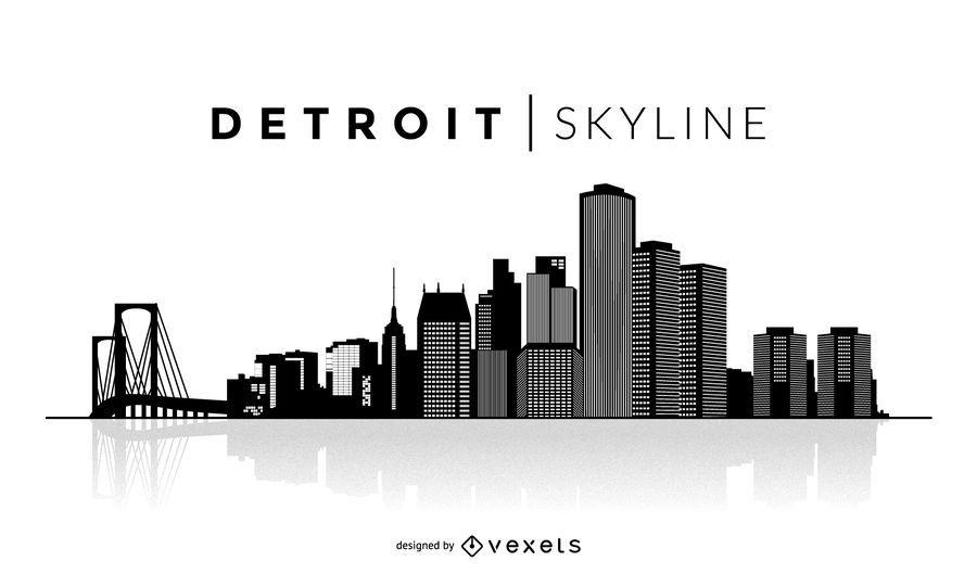 Simple Detroit skyline
