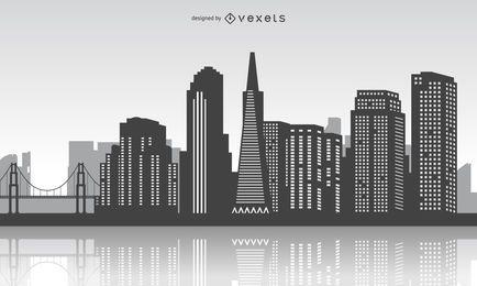 Horizonte de San Francisco con la reflexión