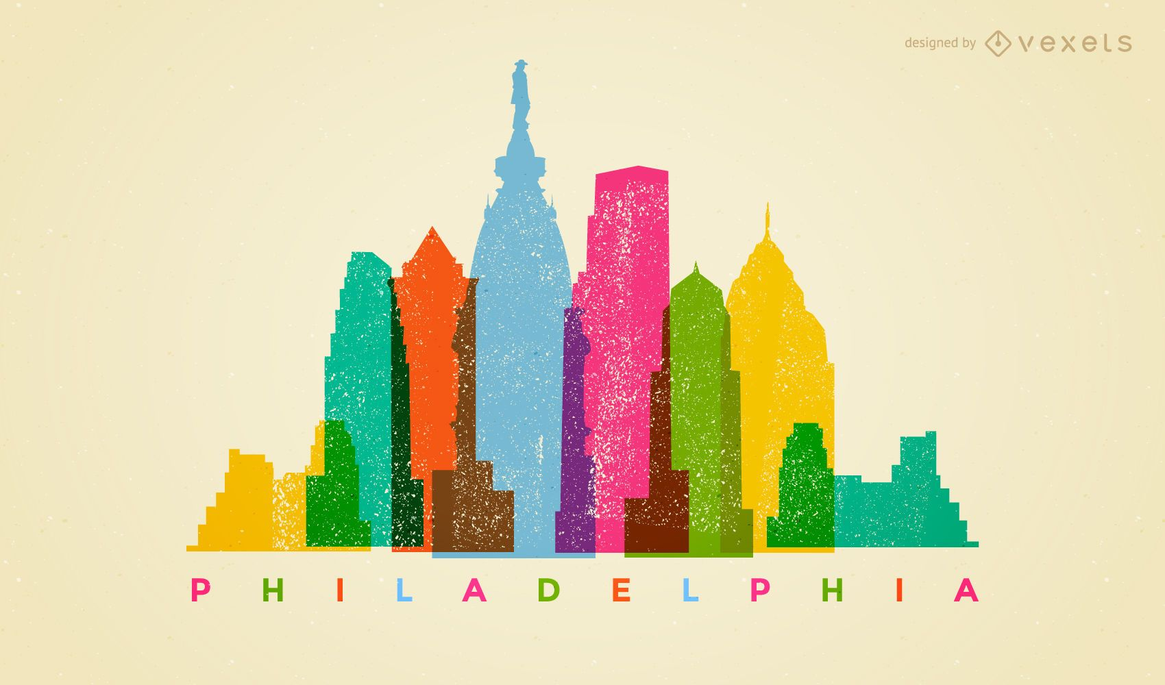 Colorful Philadelphia skyline