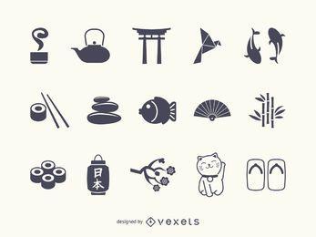 Japão ícone silhueta conjunto