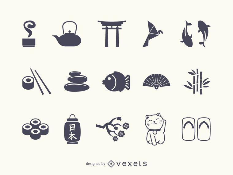 Japan icon silhouette set