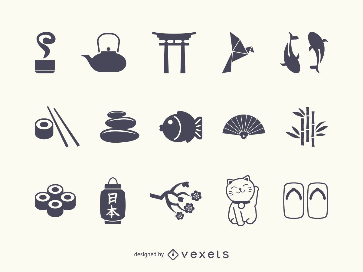 Conjunto de silueta de icono de Japón
