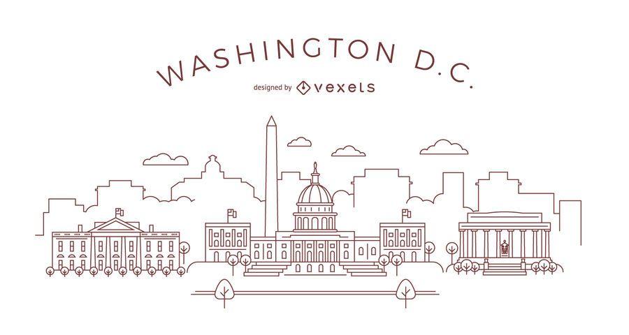 Horizonte de trazo de Washington DC - Descargar vector