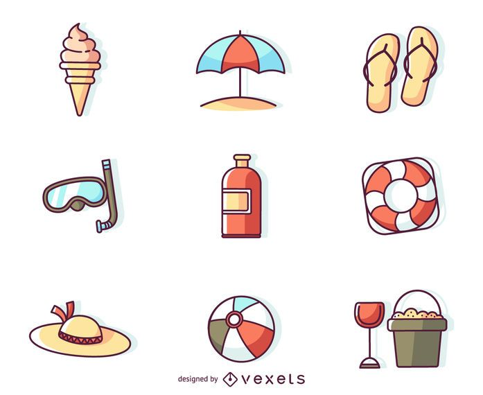 Flat stroke summer icons