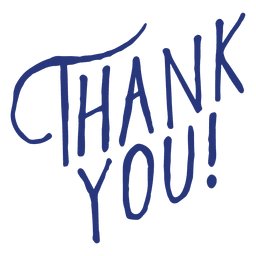 Blue thank you lettering