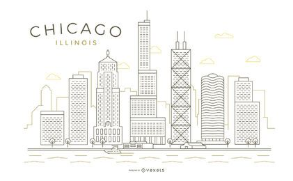 Chicago stroke thin line skyline