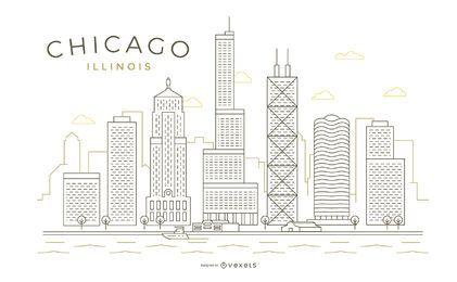 Skyline de linha fina de traçado de Chicago