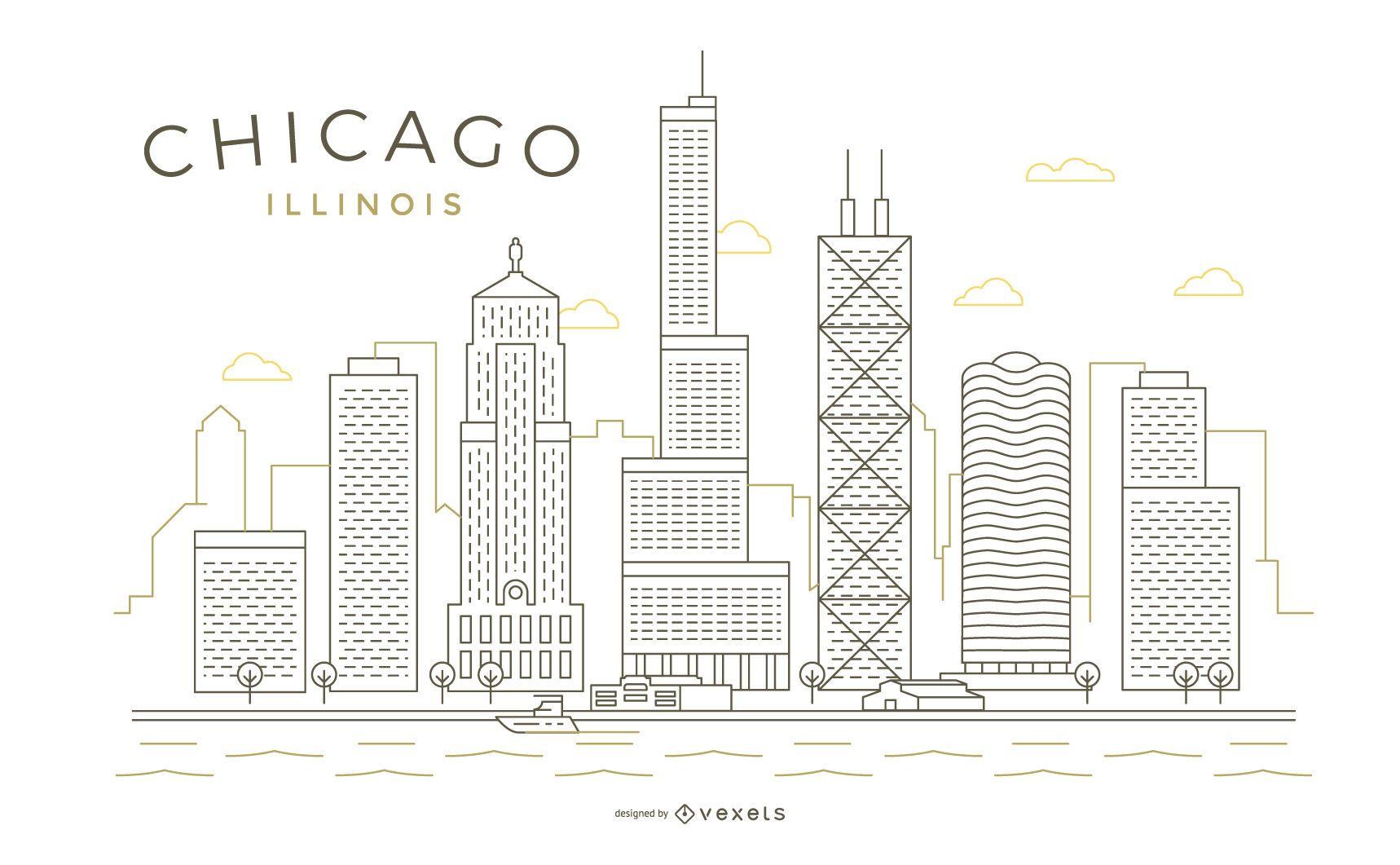 Chicago traço linha fina linha do horizonte