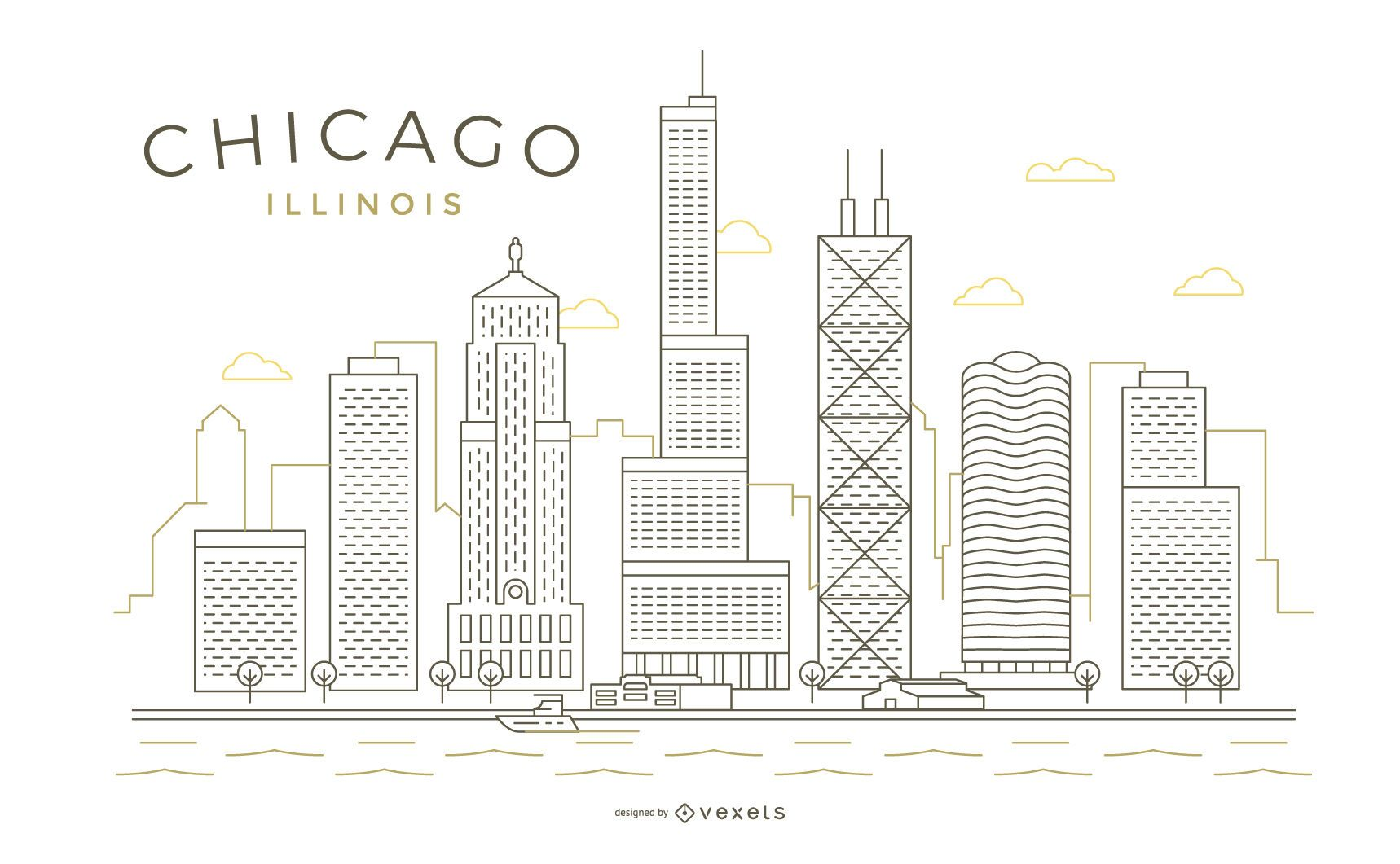 Horizonte de línea fina de trazo de Chicago