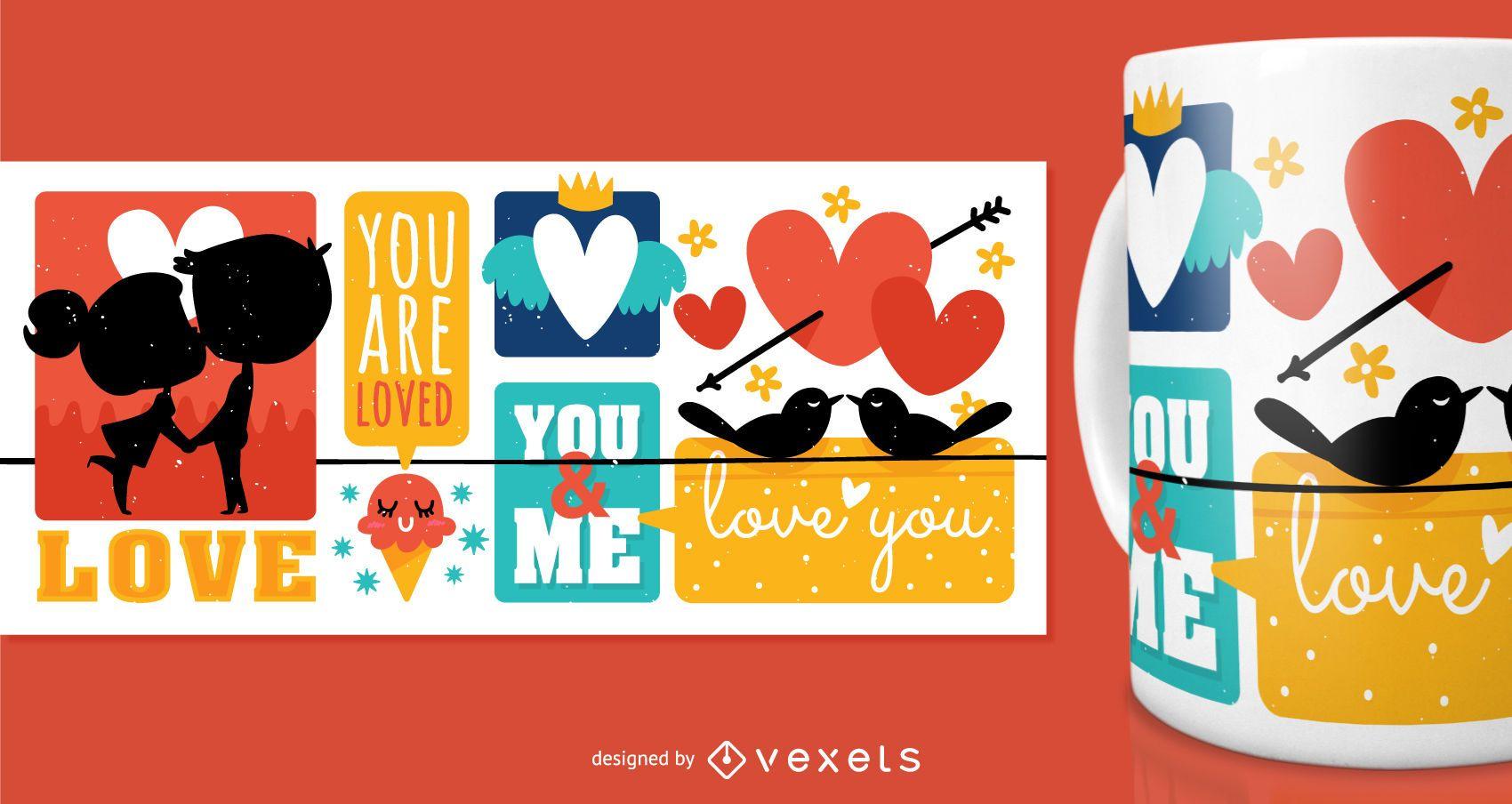 cute love mug design vector download