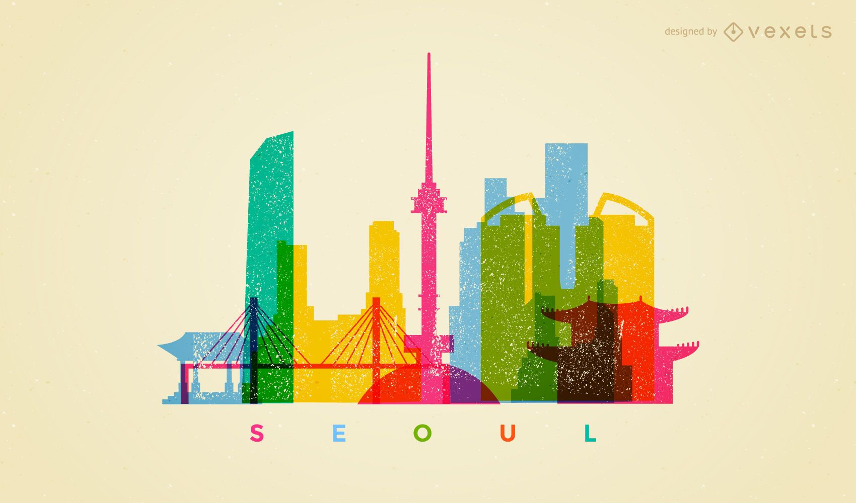 Colorful Seoul skyline