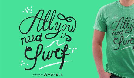 Diseño de camiseta de surf de letras