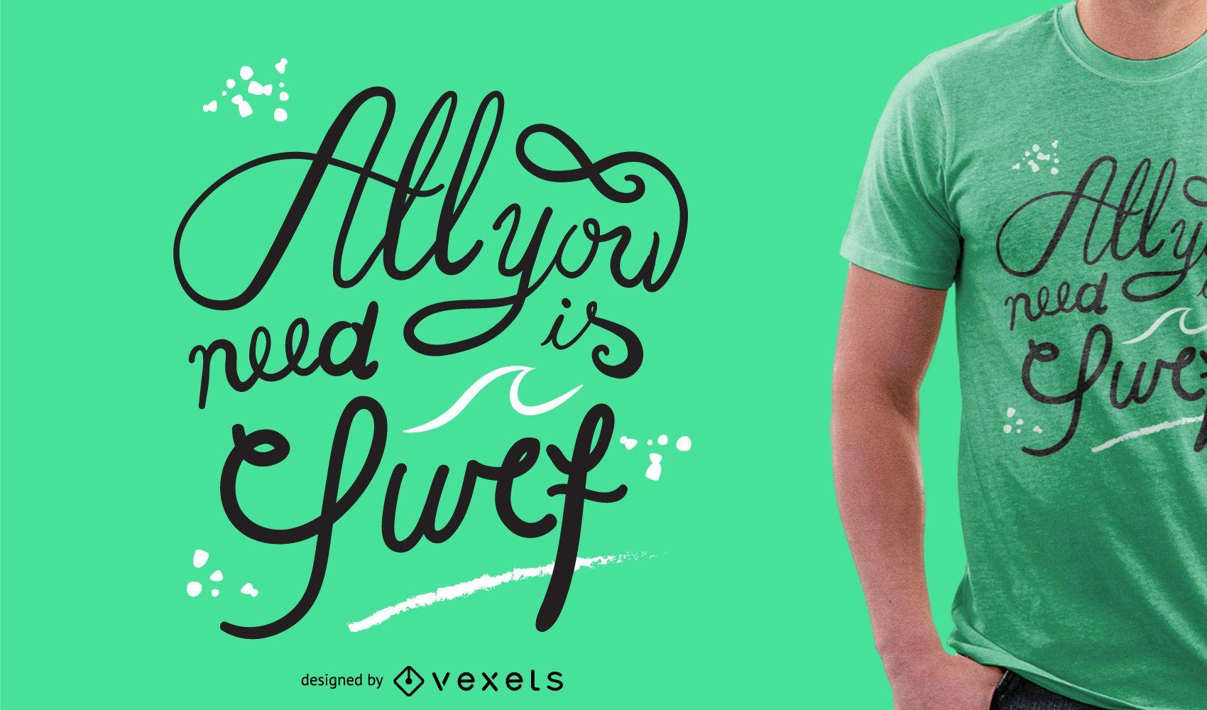 Design de camisetas de surf com letras