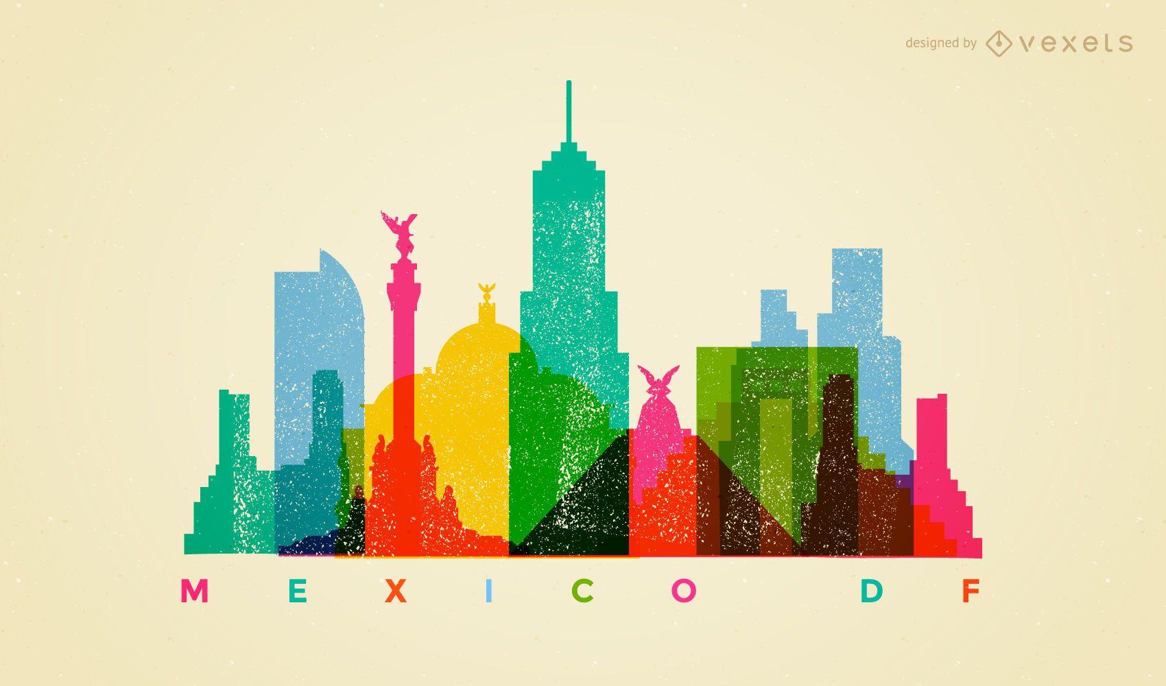 Mexico DF colorful skyline