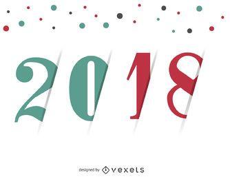 Sinal 2018 brilhante com pontos coloridos