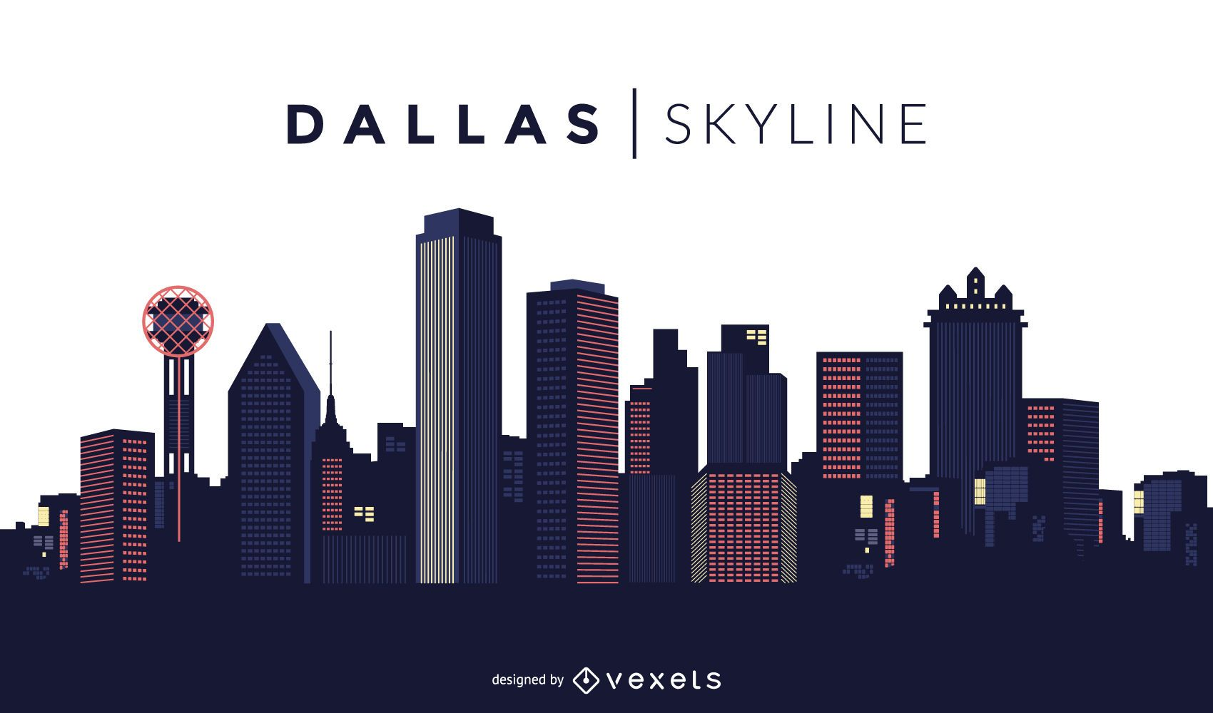dallas skyline design vector download