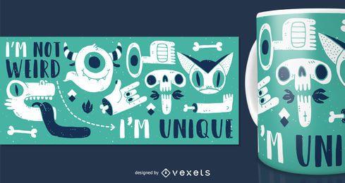 Diseño de merchandising de taza de monstruo