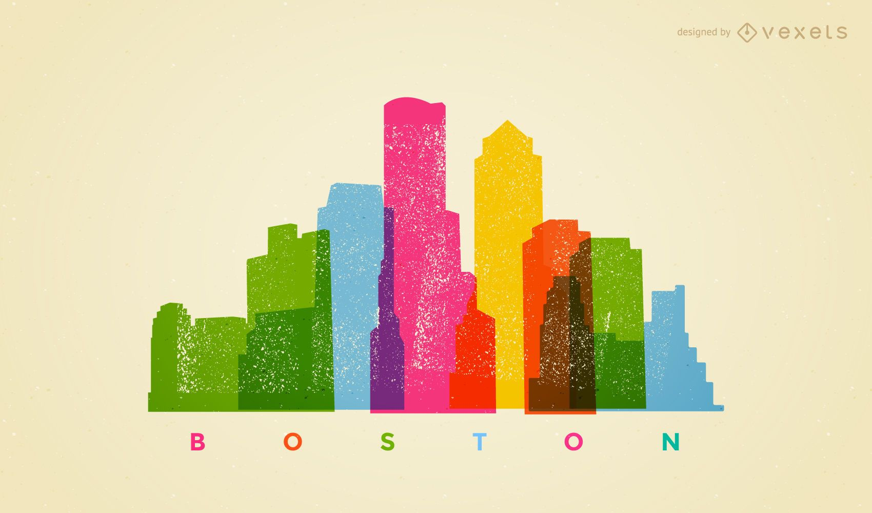 Colorful Boston skyline