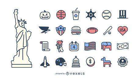 Conjunto de iconos de trazo de Estados Unidos