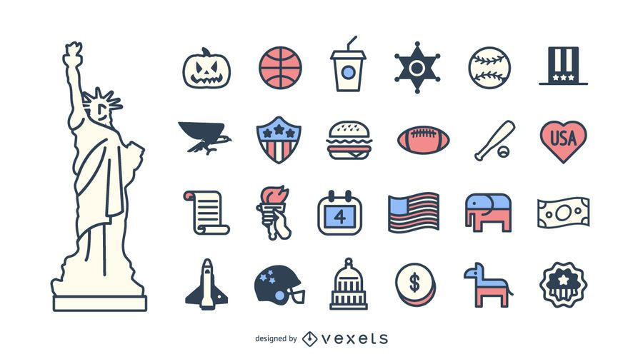 Conjunto de ícones de acidente vascular cerebral EUA