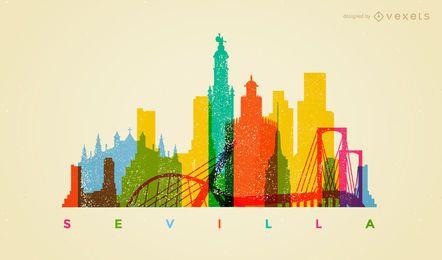 Skyline de Sevilha colorida
