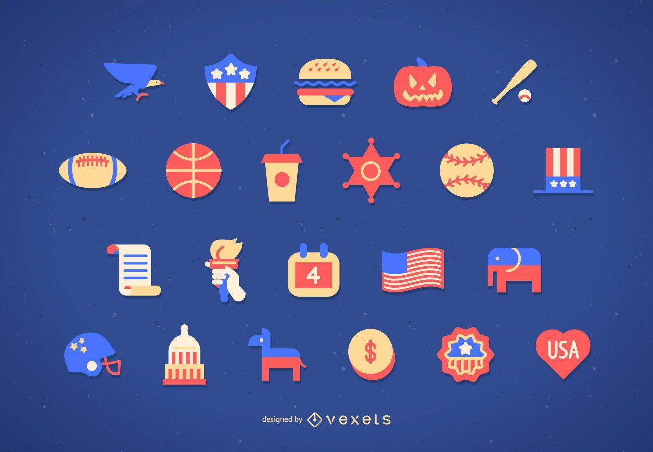 Conjunto de iconos planos de Estados Unidos