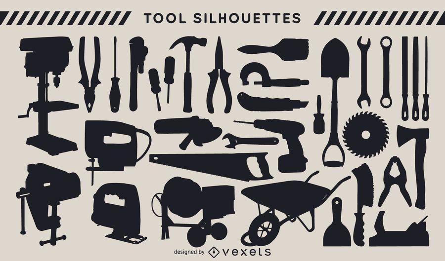 Conjunto de silhueta das ferramentas de construção