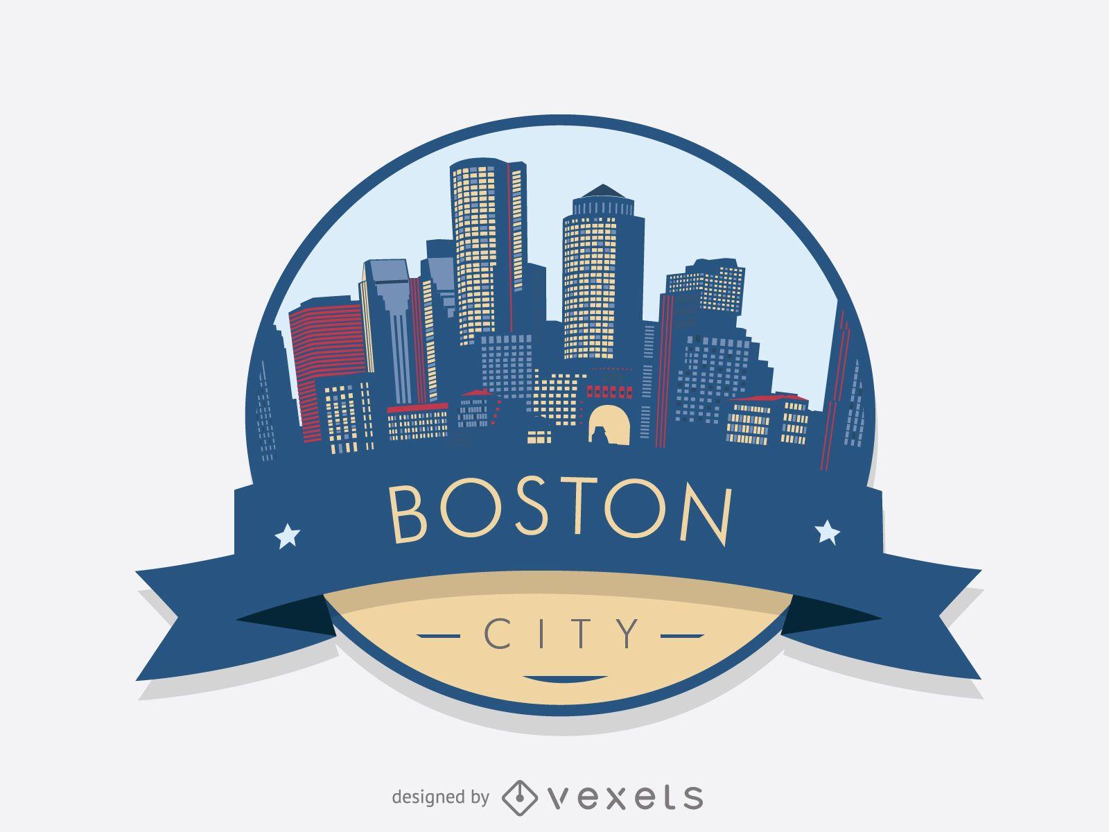 Boston skyline badge