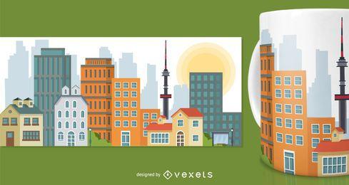 Diseño de merchandising de taza de edificios