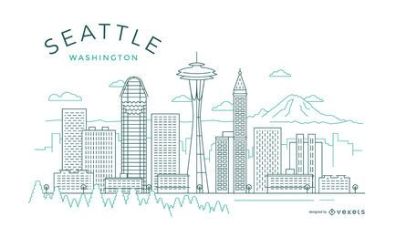 Seattle thin line skyline