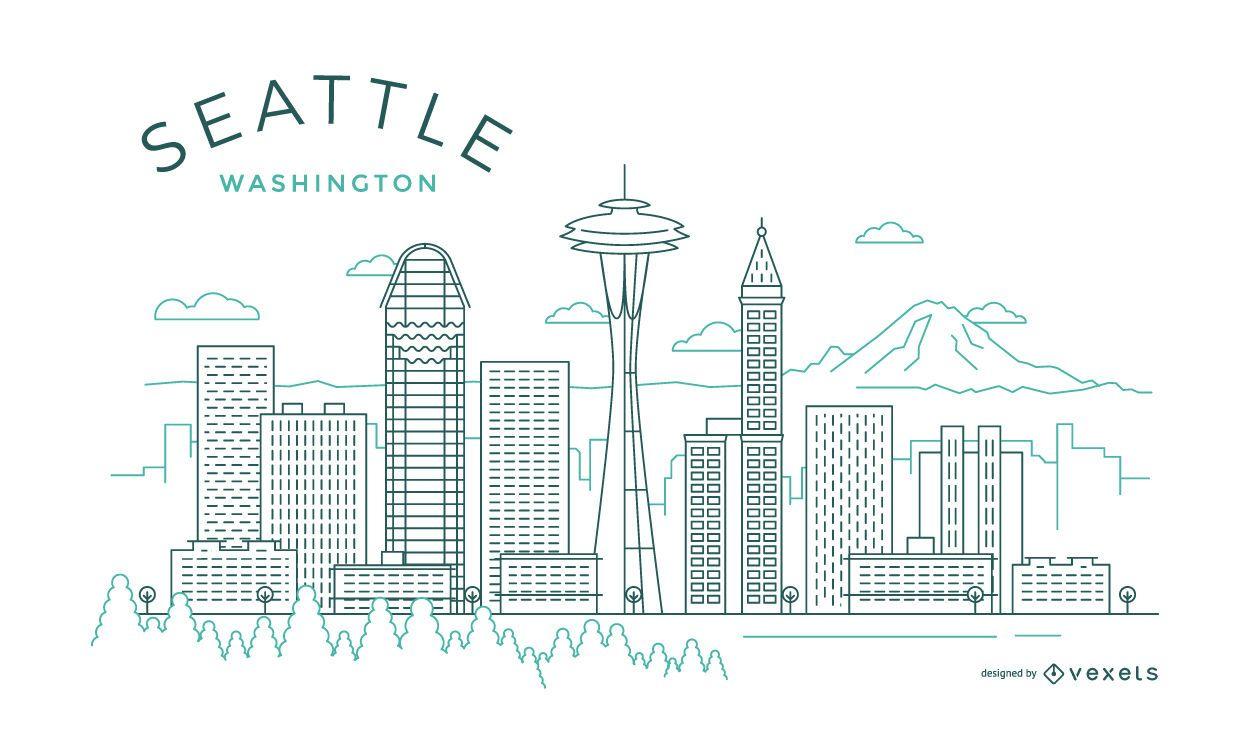 Horizonte de la delgada l?nea de Seattle