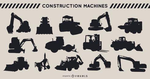 Conjunto de silhueta de máquinas de construção