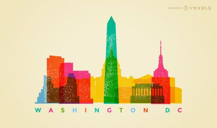 Colorful Washington DC skyline