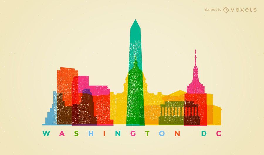 Colorful Washington DC skyline
