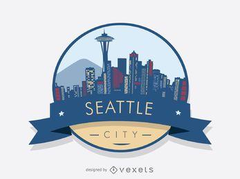 Projeto de distintivo de skyline de Seattle