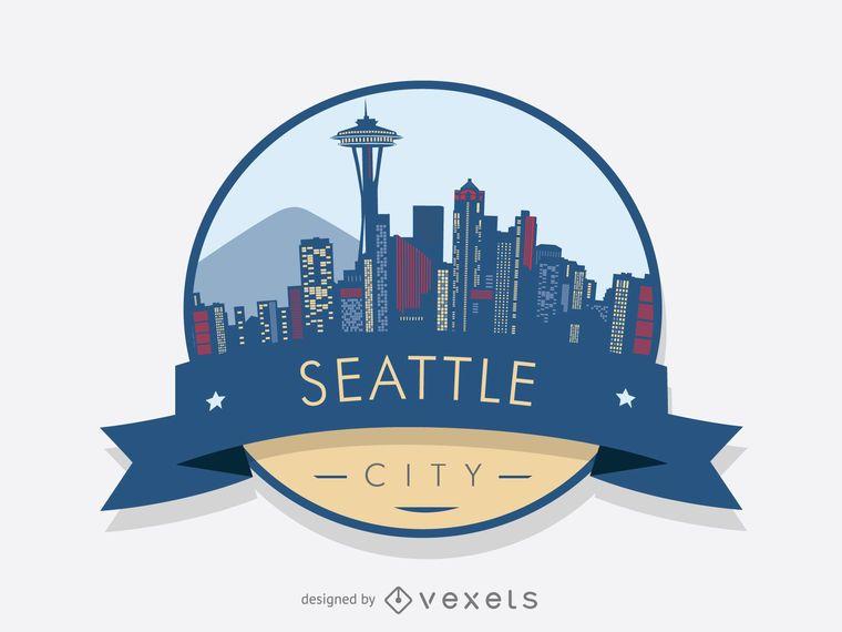 Seattle skyline badge design
