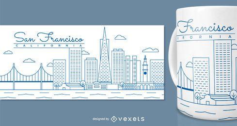 Design da caneca de San Francisco para mercadoria