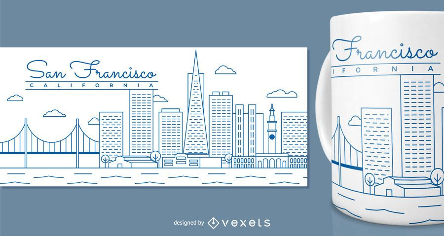 Projeto da caneca de San Francisco para a mercadoria